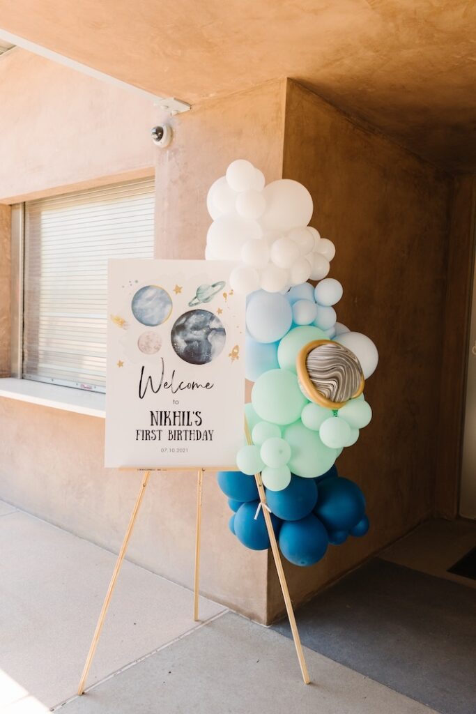 """Space Themed Welcome Sign from a """"1st Trip Around the Sun"""" Stellar Birthday Party on Kara's Party Ideas 