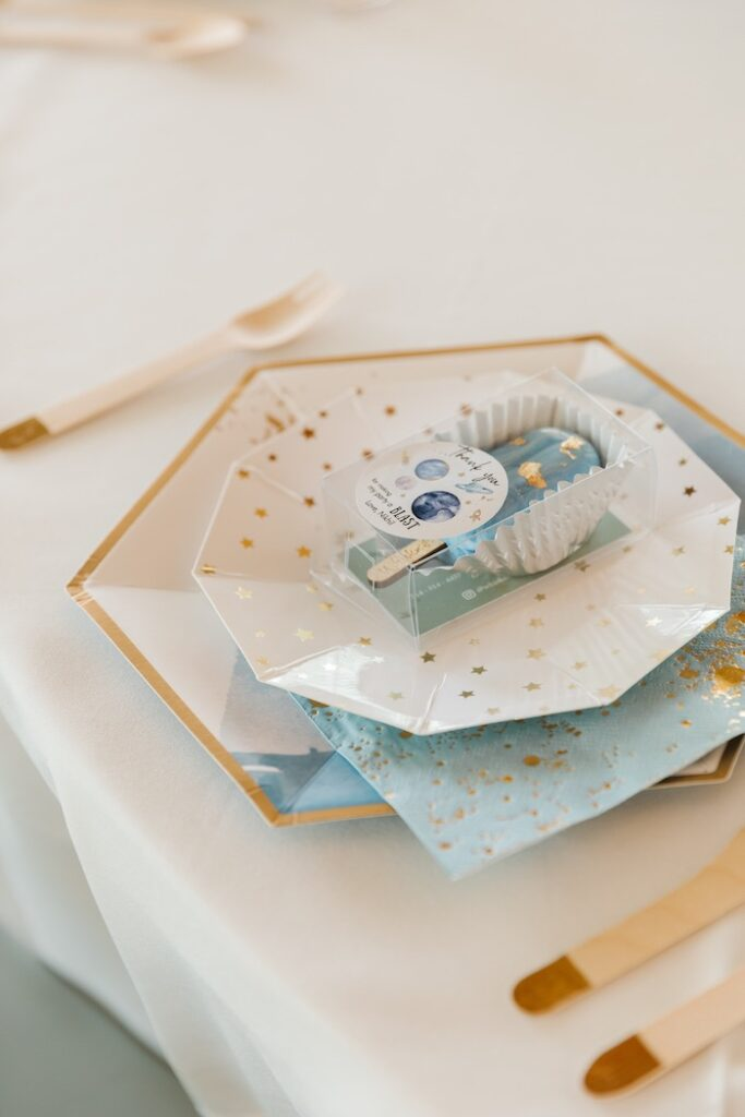 """Space-inspired Table Setting from a """"1st Trip Around the Sun"""" Stellar Birthday Party on Kara's Party Ideas 