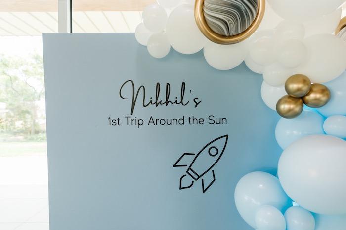 "Custom Space Backdrop from a ""1st Trip Around the Sun"" Stellar Birthday Party on Kara's Party Ideas | KarasPartyIdeas.com"