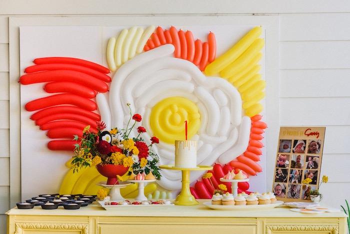 "Dessert Table from a ""Sunny Side Up"" Breakfast Birthday Party on Kara's Party Ideas | KarasPartyIdeas.com"