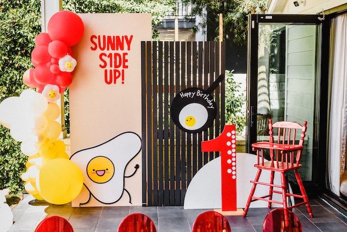 "Sunny Side Up Backdrop from a ""Sunny Side Up"" Breakfast Birthday Party on Kara's Party Ideas | KarasPartyIdeas.com"