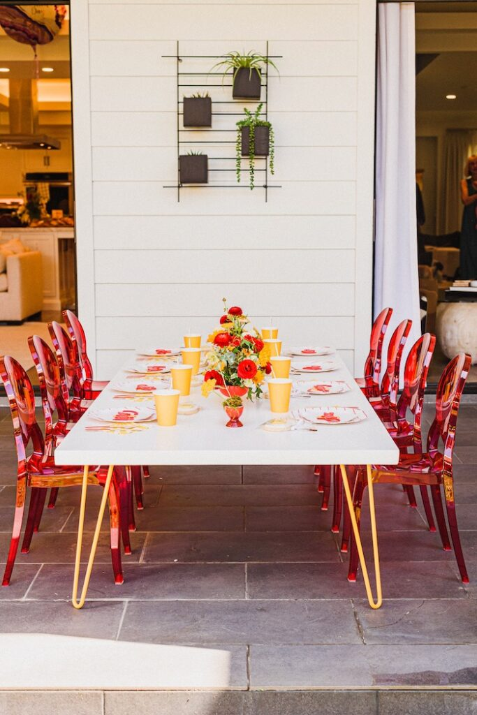 """Modern Guest Table from a """"Sunny Side Up"""" Breakfast Birthday Party on Kara's Party Ideas 