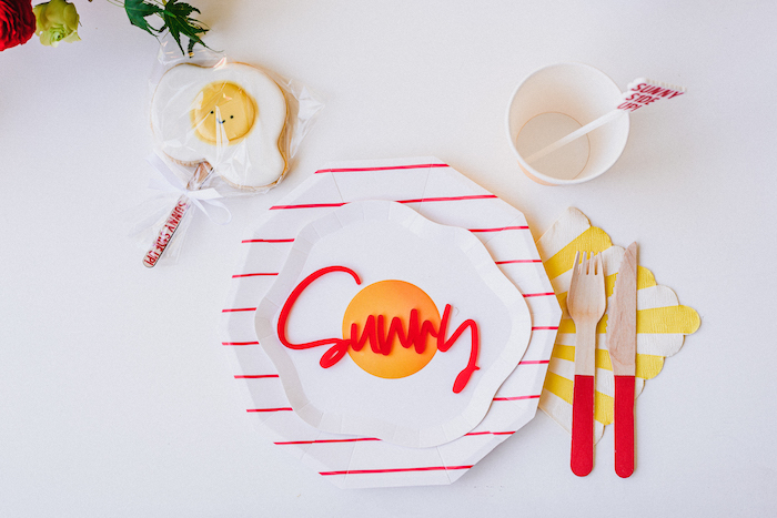 "Egg Themed Table Setting from a ""Sunny Side Up"" Breakfast Birthday Party on Kara's Party Ideas | KarasPartyIdeas.com"