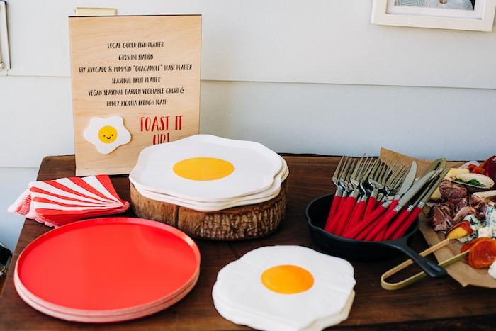 "Menu Board from a ""Sunny Side Up"" Breakfast Birthday Party on Kara's Party Ideas | KarasPartyIdeas.com"