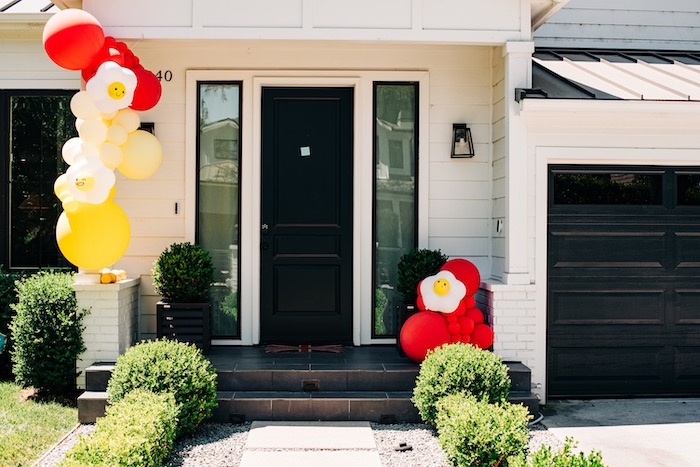 "Balloon Install Party Entrance from a ""Sunny Side Up"" Breakfast Birthday Party on Kara's Party Ideas | KarasPartyIdeas.com"