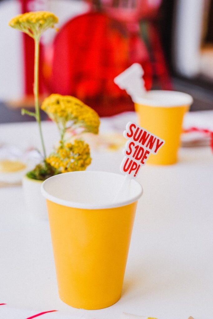 """Sunny Side Up Stir Stick + Cup from a """"Sunny Side Up"""" Breakfast Birthday Party on Kara's Party Ideas 
