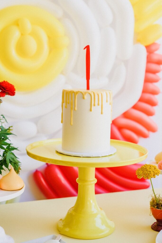 """Yellow + White Drip Cake from a """"Sunny Side Up"""" Breakfast Birthday Party on Kara's Party Ideas 