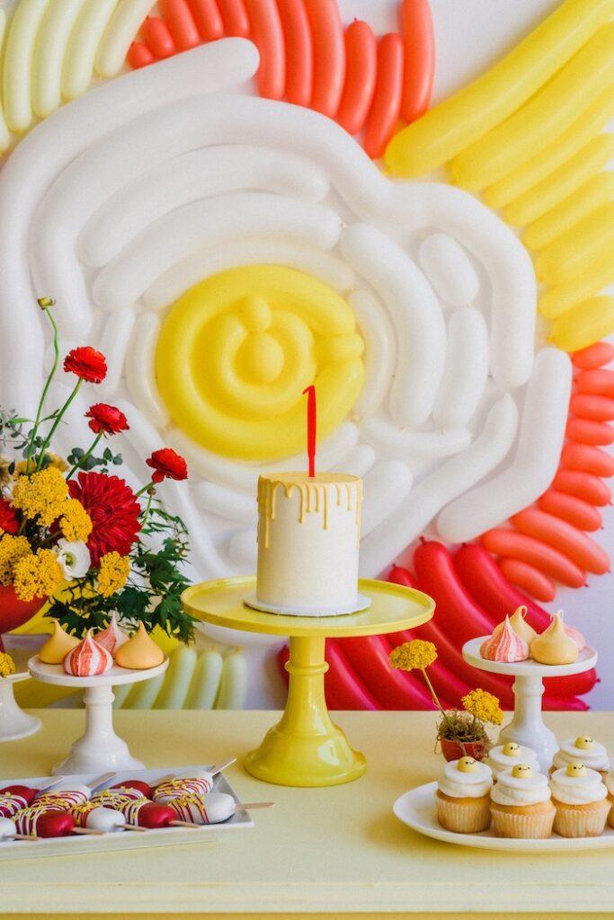 "Cake Table from a ""Sunny Side Up"" Breakfast Birthday Party on Kara's Party Ideas | KarasPartyIdeas.com"