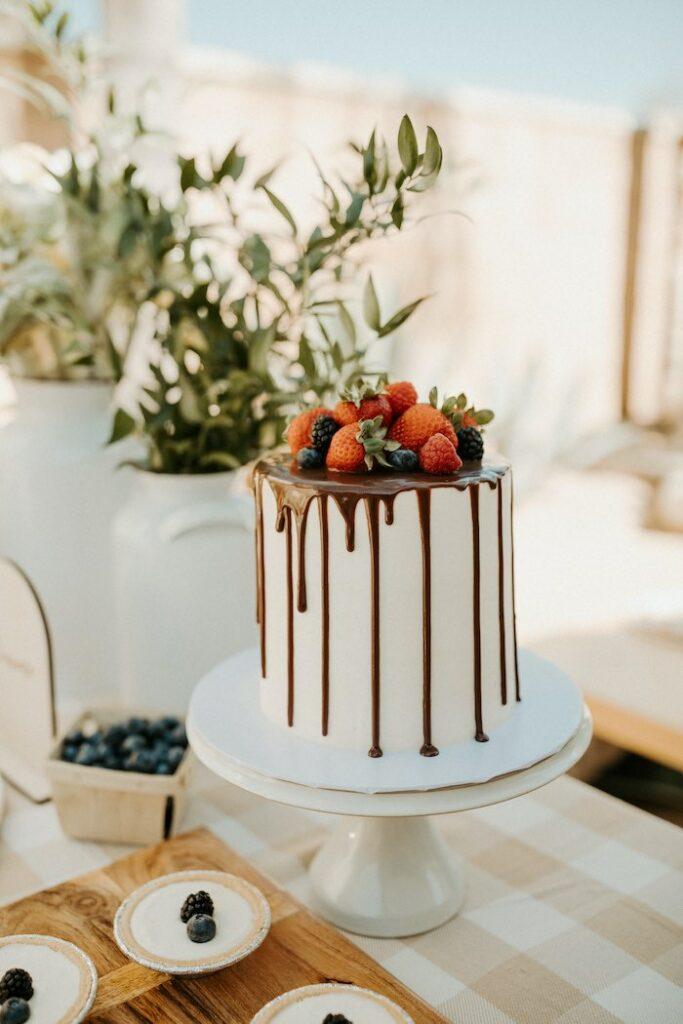 Chocolate Strawberry Drizzle Cake from a Boho Modern Farmers' Market Party on Kara's Party Ideas | KarasPartyIdeas.com