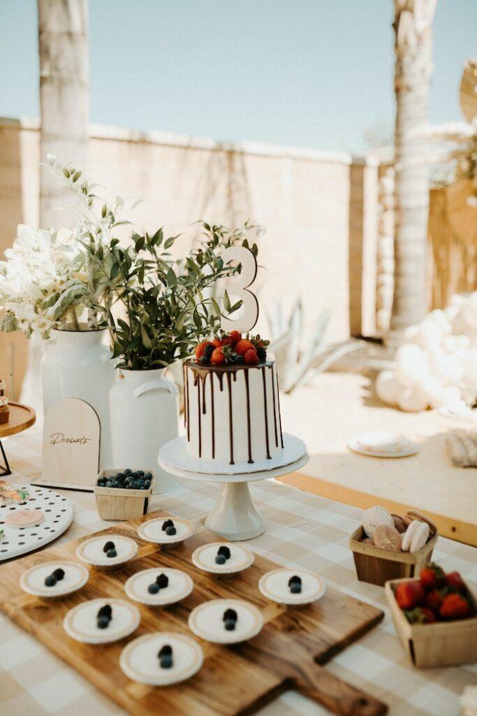 Cake + Dessert Table from a Boho Modern Farmers' Market Party on Kara's Party Ideas | KarasPartyIdeas.com