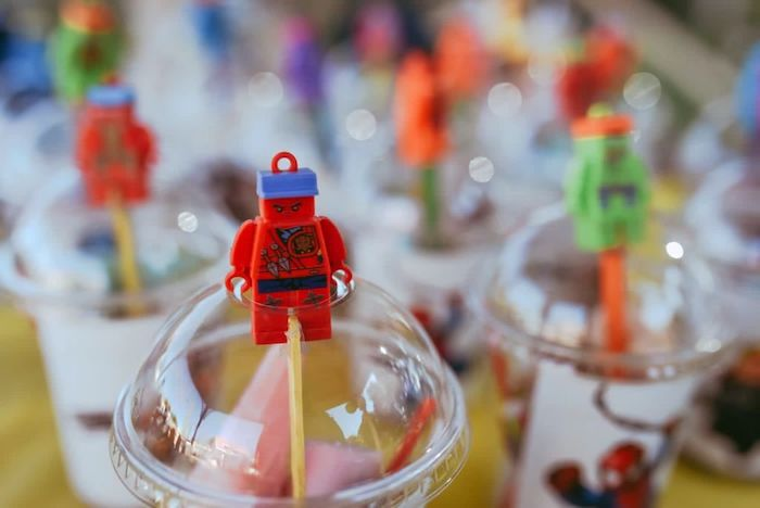 Lego Superhero Cups from a DIY Lego Superhero Party on Kara's Party Ideas | KarasPartyIdeas.com