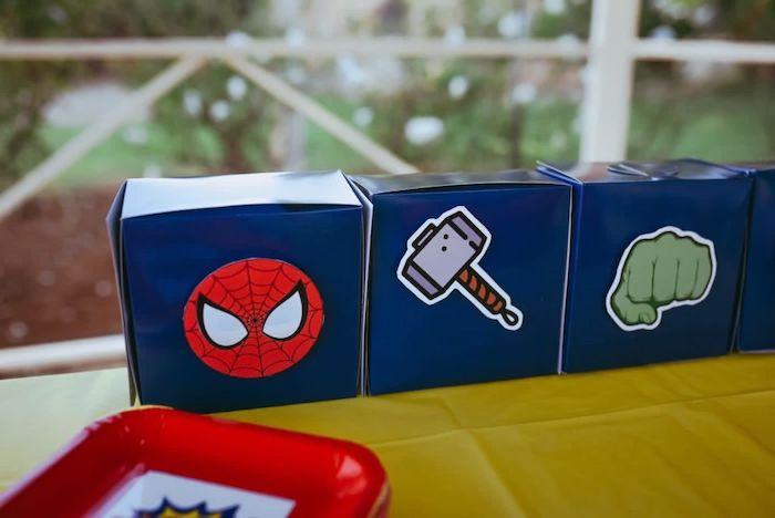 Superhero Boxes from a DIY Lego Superhero Party on Kara's Party Ideas | KarasPartyIdeas.com