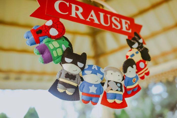 Felt Superhero Doll Wreath from a DIY Lego Superhero Party on Kara's Party Ideas | KarasPartyIdeas.com