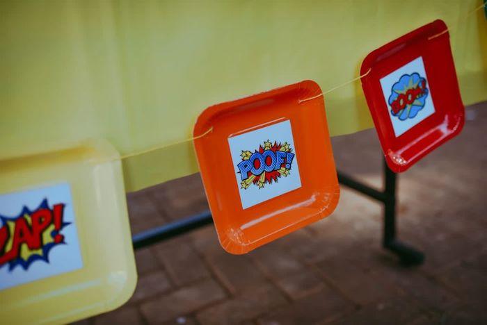 Square Plate Banner from a DIY Lego Superhero Party on Kara's Party Ideas | KarasPartyIdeas.com