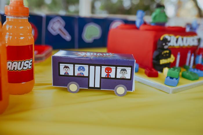 Superhero Bus Box from a DIY Lego Superhero Party on Kara's Party Ideas | KarasPartyIdeas.com