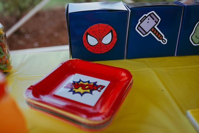 Superhero Plates from a DIY Lego Superhero Party on Kara's Party Ideas | KarasPartyIdeas.com