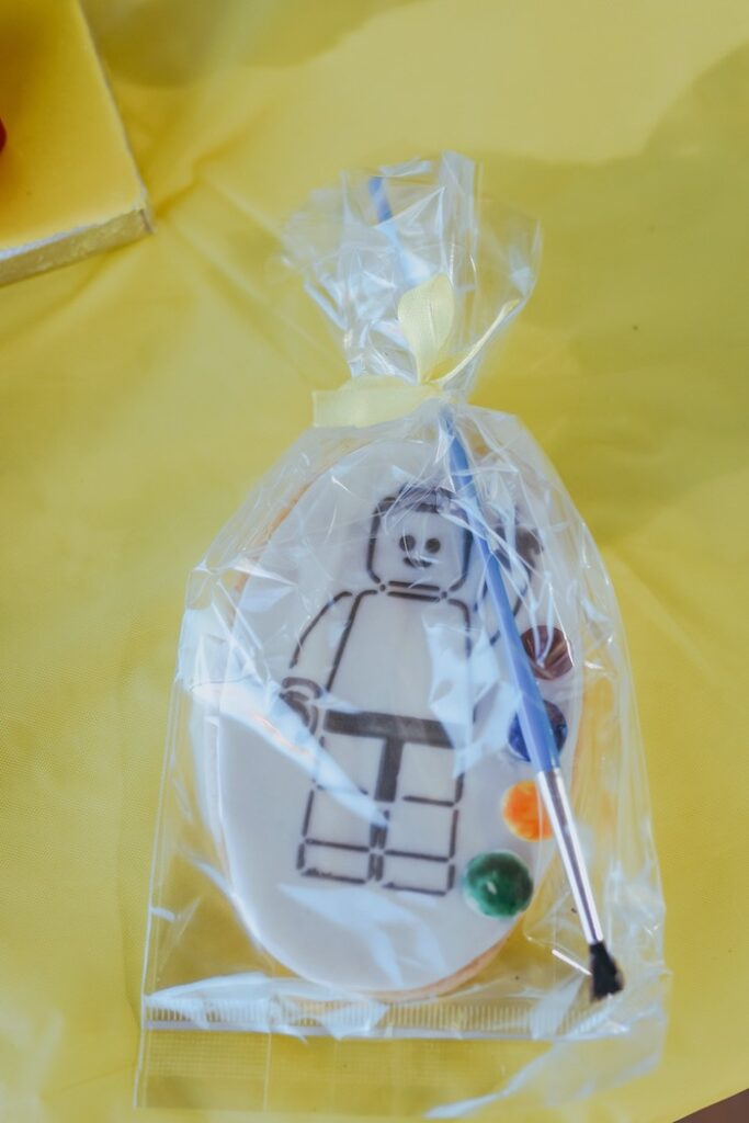 Paintable Lego Man Cookie from a DIY Lego Superhero Party on Kara's Party Ideas | KarasPartyIdeas.com