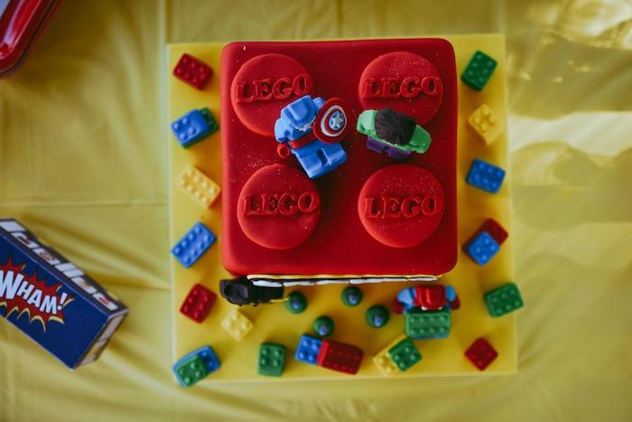 Lego Superhero Cake from a DIY Lego Superhero Party on Kara's Party Ideas | KarasPartyIdeas.com