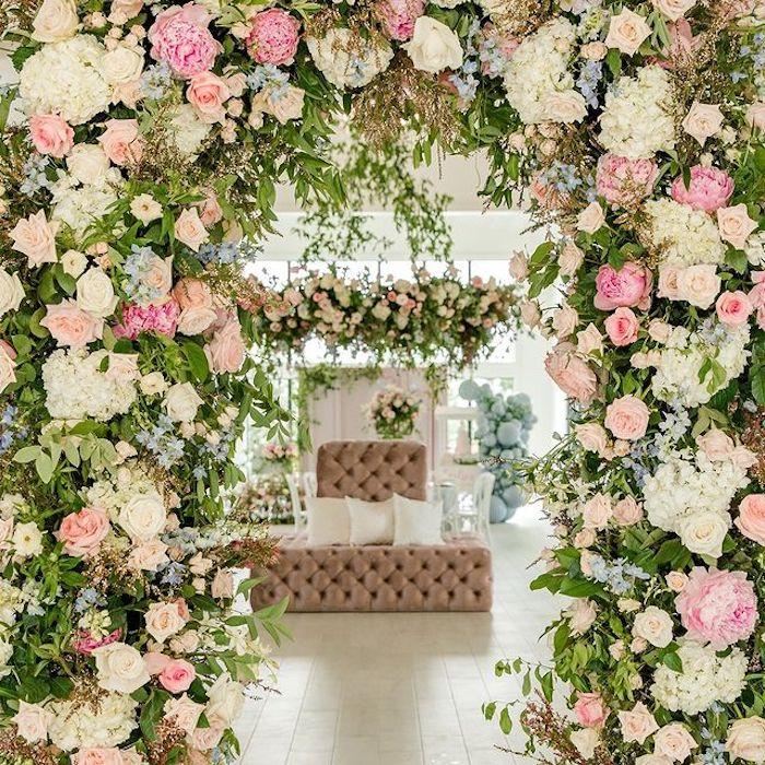 Floral Arbor + Chandelier from a Dreamy Garden Baby Shower on Kara's Party Ideas | KarasPartyIdeas.com