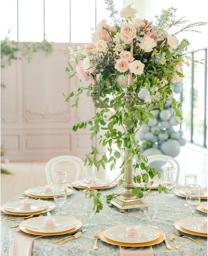Elegant Guest Table from a Dreamy Garden Baby Shower on Kara's Party Ideas | KarasPartyIdeas.com