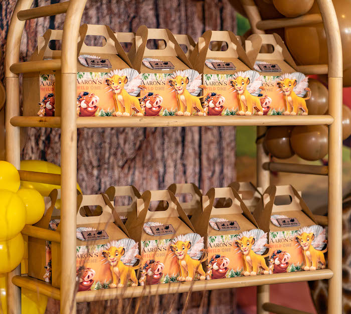 Lion King Gable Favor Boxes from a Lion King Birthday Party via Kara's Party Ideas | KarasPartyIdeas.com