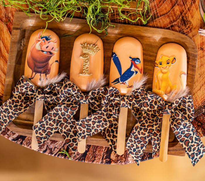 Lion King Character Cakesicles from a Lion King Birthday Party via Kara's Party Ideas | KarasPartyIdeas.com