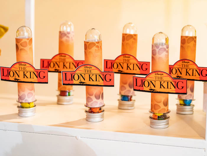Lion King Candy Favor Tubes from a Lion King Birthday Party via Kara's Party Ideas | KarasPartyIdeas.com
