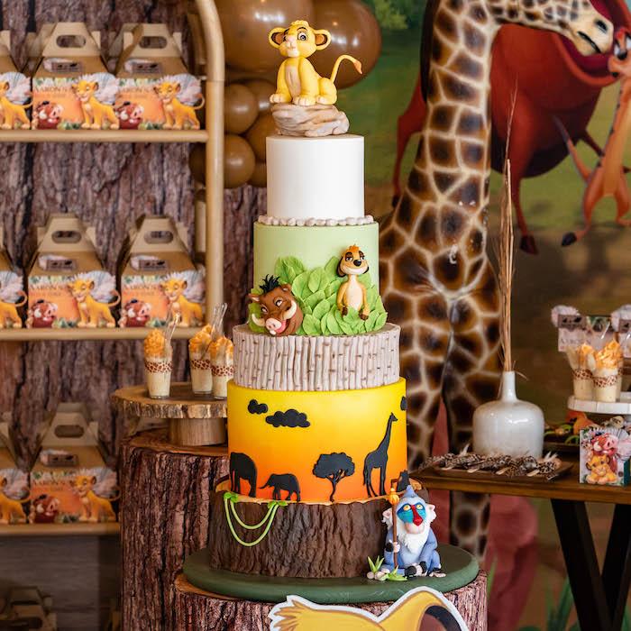 Lion King Birthday Cake from a Lion King Birthday Party via Kara's Party Ideas | KarasPartyIdeas.com