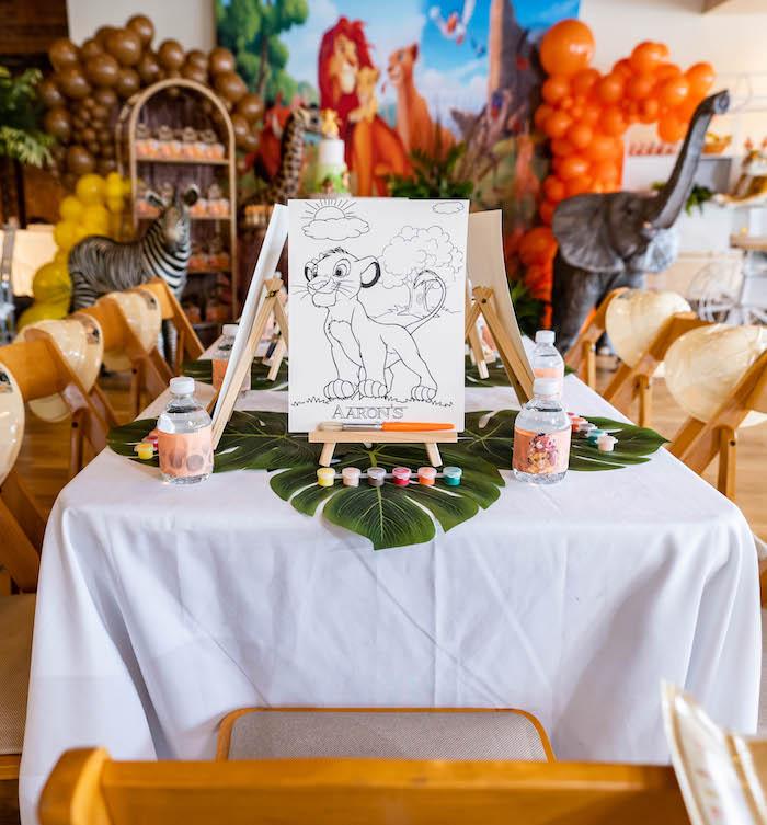 Art Table from a Lion King Birthday Party via Kara's Party Ideas | KarasPartyIdeas.com