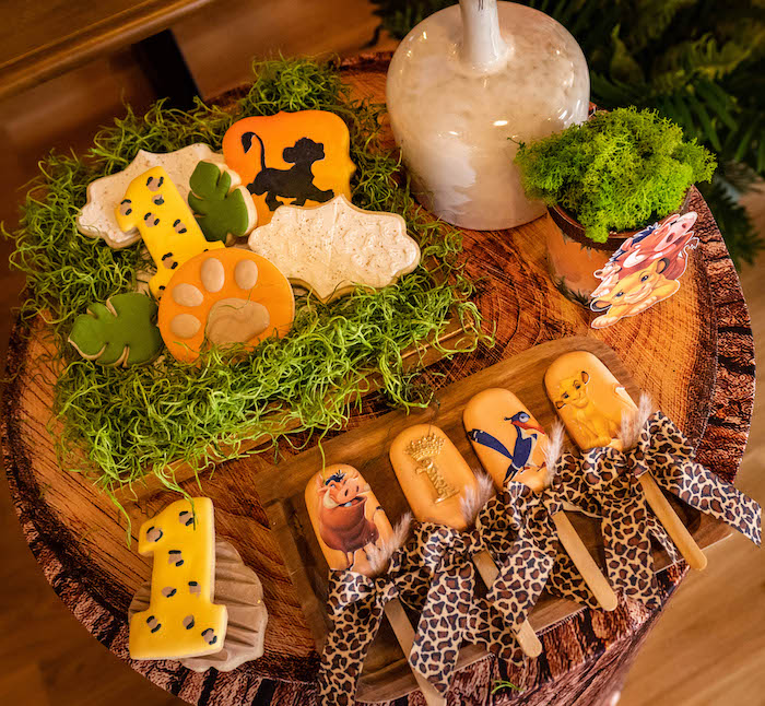 Lion King Cookies + Cakesicles from a Lion King Birthday Party via Kara's Party Ideas | KarasPartyIdeas.com