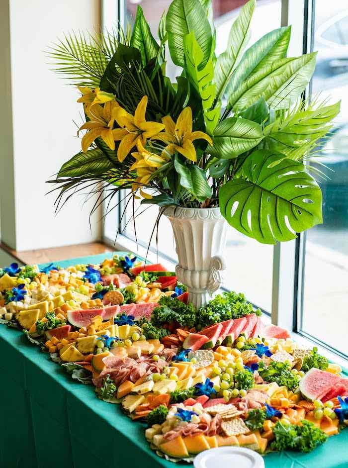 Tropical Charcuterie Grazing Table from a Lion King Birthday Party via Kara's Party Ideas | KarasPartyIdeas.com