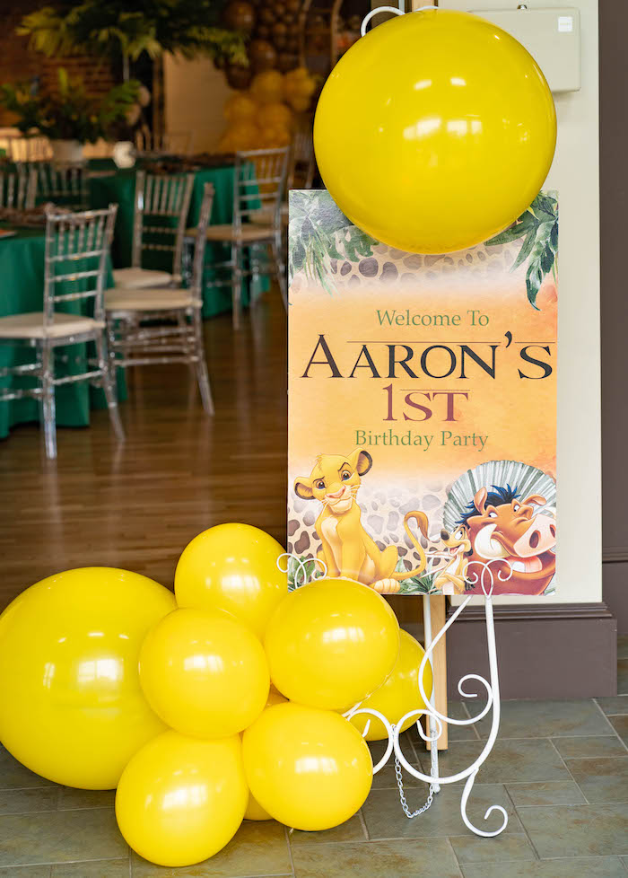 Lion King Welcome Sign from a Lion King Birthday Party via Kara's Party Ideas | KarasPartyIdeas.com