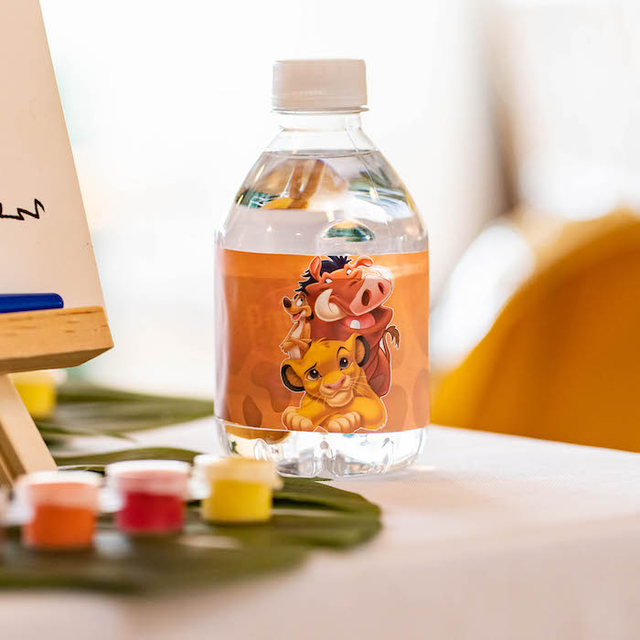 Lion King-labeled Water Bottle from a Lion King Birthday Party via Kara's Party Ideas | KarasPartyIdeas.com