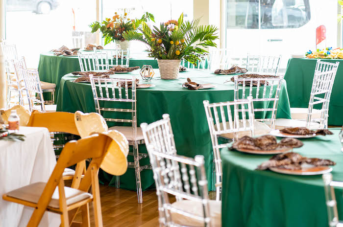 Guest Tables from a Lion King Birthday Party via Kara's Party Ideas | KarasPartyIdeas.com