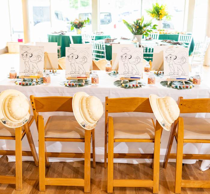 Art + Kid Table from a Lion King Birthday Party via Kara's Party Ideas | KarasPartyIdeas.com