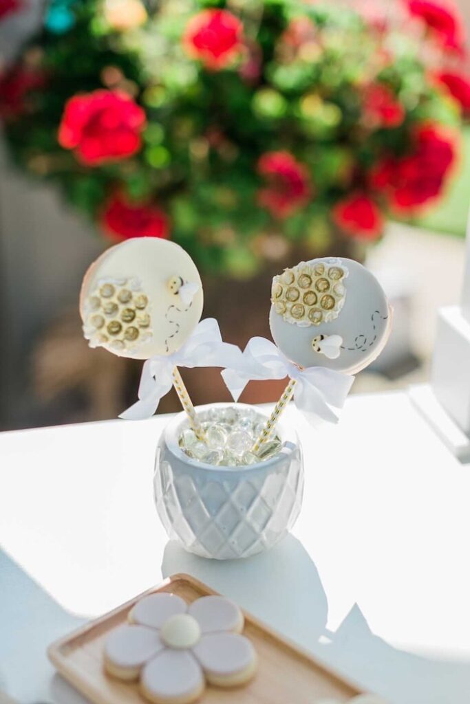 Bee Themed Cookie Pops from a Neutral Boho Honey Bee Party on Kara's Party Ideas | KarasPartyIdeas.com