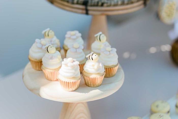 Bee Themed Cupcakes from a Neutral Boho Honey Bee Party on Kara's Party Ideas | KarasPartyIdeas.com