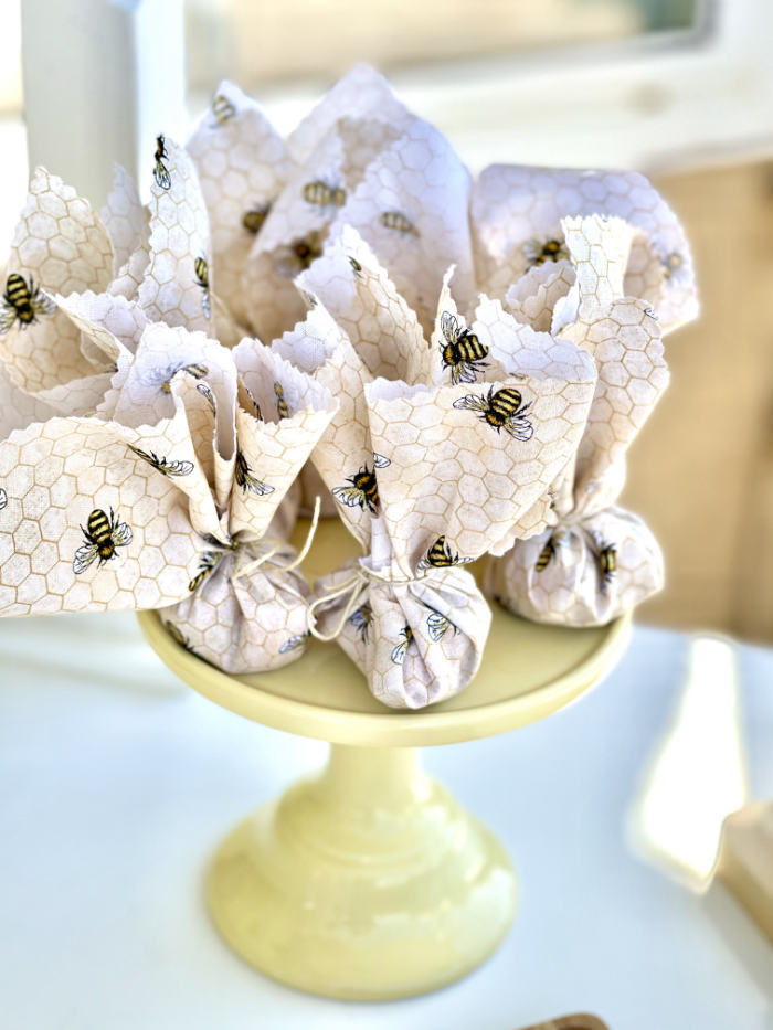 Bee-inspired Favor Pouches from a Neutral Boho Honey Bee Party on Kara's Party Ideas | KarasPartyIdeas.com