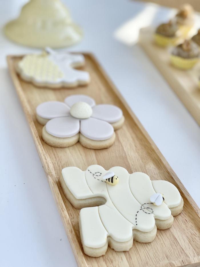 Bee Themed Cookies from a Neutral Boho Honey Bee Party on Kara's Party Ideas | KarasPartyIdeas.com