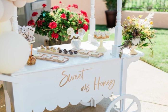 Sweet as Honey Bee Themed Dessert Cart from a Neutral Boho Honey Bee Party on Kara's Party Ideas | KarasPartyIdeas.com