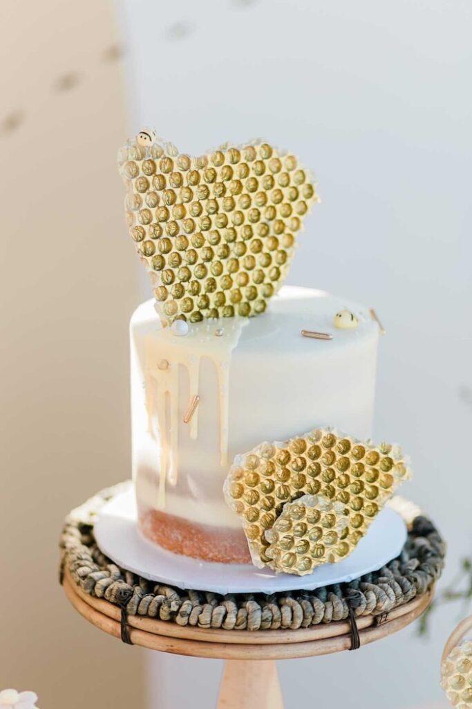Bee Themed Cake from a Neutral Boho Honey Bee Party on Kara's Party Ideas | KarasPartyIdeas.com