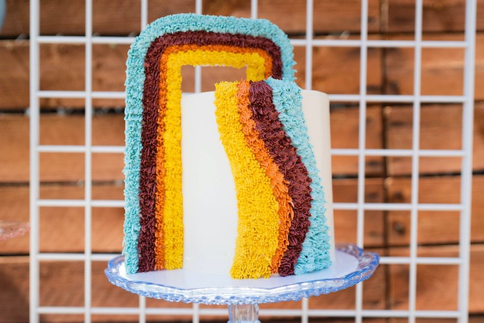 "Retro Shag Cake from a Retro 70's Rainbow ""Grow with Love"" Birthday Party on Kara's Party Ideas   KarasPartyIdeas.com"