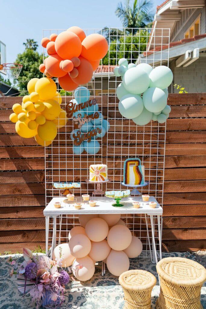 "Retro Dessert Table from a Retro 70's Rainbow ""Grow with Love"" Birthday Party on Kara's Party Ideas   KarasPartyIdeas.com"