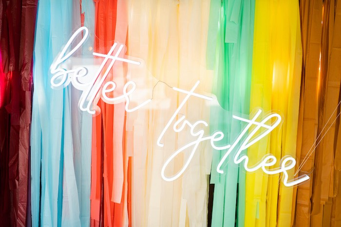 """Better Together Neon Sign from a Retro 70's Rainbow """"Grow with Love"""" Birthday Party on Kara's Party Ideas   KarasPartyIdeas.com"""