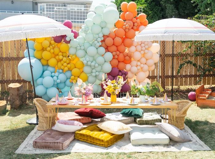 """Retro 70's Rainbow """"Grow with Love"""" Birthday Party on Kara's Party Ideas   KarasPartyIdeas.com"""