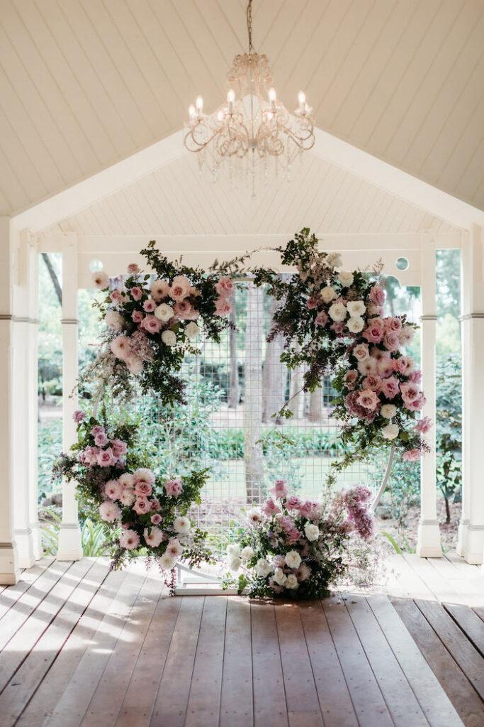 Floral-covered Grid Hoop from a Romantic & Elegant Garden Wedding on Kara's Party Ideas   KarasPartyIdeas.com