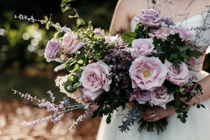 Blush and Purple Bridal Bouquet from a Romantic & Elegant Garden Wedding on Kara's Party Ideas   KarasPartyIdeas.com
