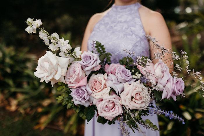 Blush and Purple Bridesmaids Bouquet from a Romantic & Elegant Garden Wedding on Kara's Party Ideas   KarasPartyIdeas.com
