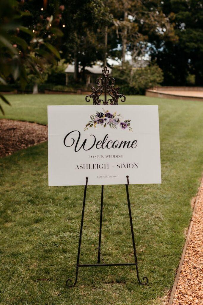 Welcome Sign from a Romantic & Elegant Garden Wedding on Kara's Party Ideas   KarasPartyIdeas.com