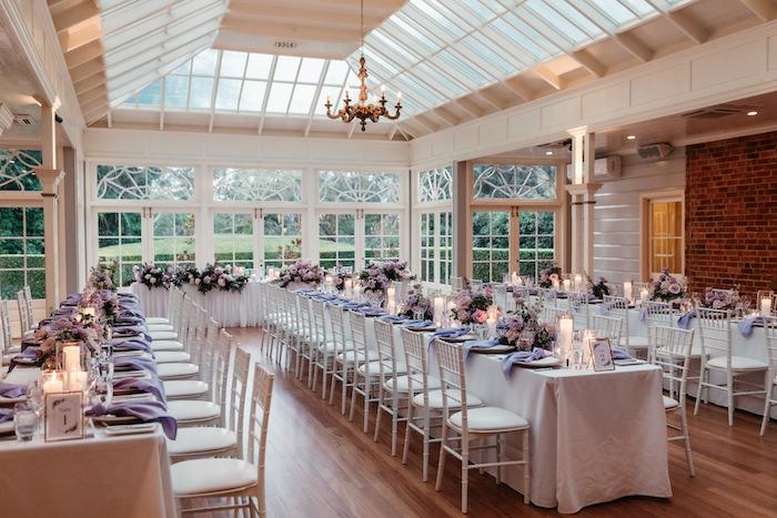 White + Purple Guest Tables from a Romantic & Elegant Garden Wedding on Kara's Party Ideas   KarasPartyIdeas.com
